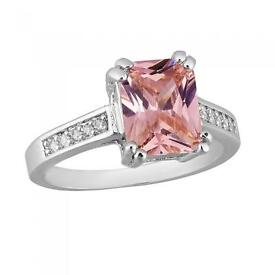 Genuine white gold ring with 2.5 carat pink sapphire, BNIB