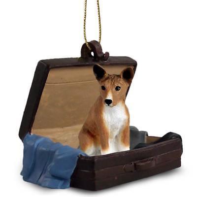 Basenji Traveling Companion Dog Figurine In Suit Case Ornament