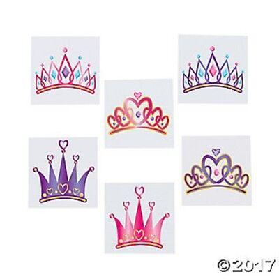 72 Princess Crown Temporary Tattoos Girls Birthday Party Fav