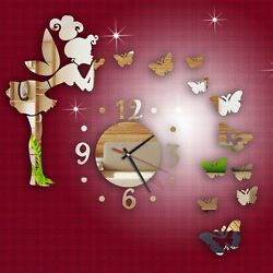 New Modern Style Butterfly Fairy DIY Mirror Wall Clock Wall Sticker Home Decor