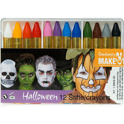 12 Schminkstifte für Halloween, Karneval und Kinderschminken in Schminkbox
