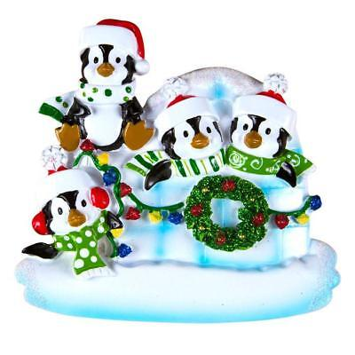 Igloo Penguin Family Of 4 Personalized Christmas Tree Ornament Holiday Gift 2017