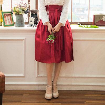 [Korea Costume Life Hanbok] Waist Skirt Red Rose Fabric Damask Free Shipping