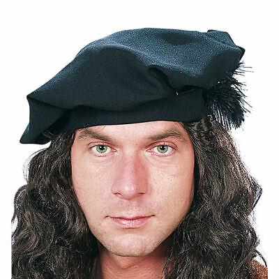 Barett in Schwarz, toller Hut für mittelalterliche Kostüme und Verkleidungen