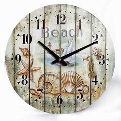 Weathered Look LARGE Wall Clock Seashells Marine Coastal Nautical Beach Decor