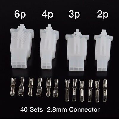 40 Set Motorcycle 2.8mm 2 3 4 6 Pin Insulated Electrical Wire Terminal For ATV