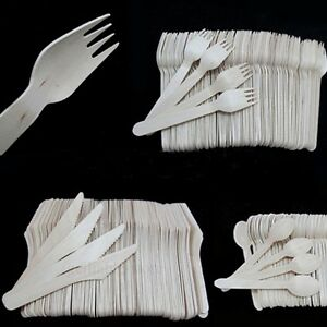 100-pcs-Wooden-Knives-Spoon-Fork-Scoop-Disposable-Tableware-Cutlery-Cream-Picnic