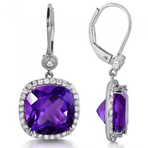 PURPLE AMETHYST AND WHITE DIAMOND HALO DANGLE EARRINGS 9 7/8CT Castle Hill The Hills District Preview