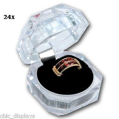 Lot Of 24 Acrylic Ring Boxes Wholesale Jewelry Ring Boxes Showcase Displays