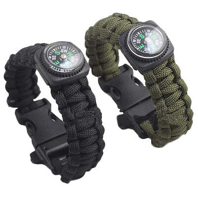 New Outdoor Self-rescue Parachute Cord Bracelets Compass Survival Camping Travel
