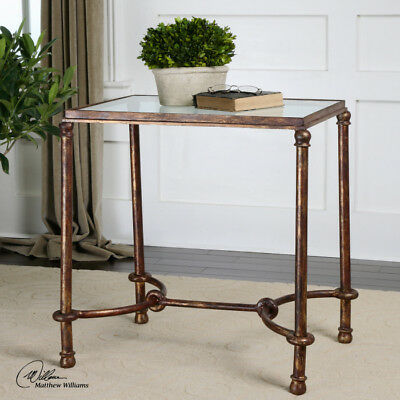 (Equestrian Rustic Bronze Iron & Glass End Accent Table)