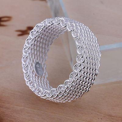 beautiful Fashion silver Pretty cute Women mesh hot Ring jewelry hot nice 925