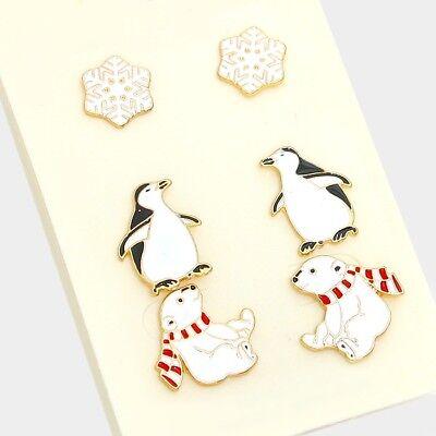 Penguin polar snowflake stud earring set Polar Circle Earrings