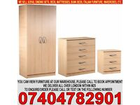 Fully Assembled 2 Door Wardrob Set with Chest of Drawer and Bedside BRAND NEW