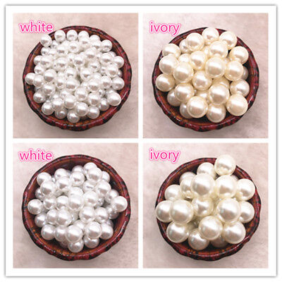 NEW NO Holes White Ivory Round Imitation Plastic Pearl Spacer - Ivory Pearls