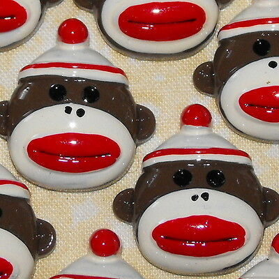 key Classic Old Kawaii Flatback Resin Flat Backs Cabochons (Old Sock Monkey)
