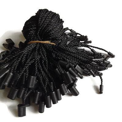 7 100pcs Black Hang Tag Nylon String Snap Lock Pin Loop Fastener Hook Tie New
