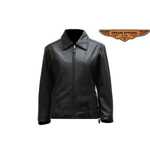 Women's Leather Jacket With Zippered Cuffs   SKU: LJ219