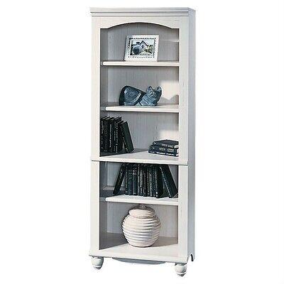 Bookcase 5 Shelf Bookshelf Storage Display Living Room Bedroom Chic White Finish