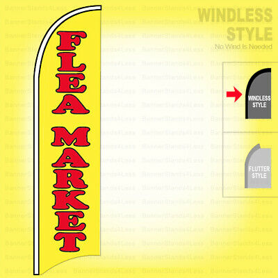 Flea Market - Windless Swooper Flag 11.5 Ft Tall Feather Banner Sign Yb