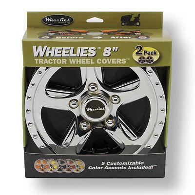 2 New Wheelies Lawn Mower Garden Tractor Wheel Covers Hub Caps for 8