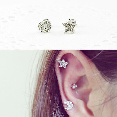Star Cartilage Earring Stud - 16g Moon Star cartilage earring, labret stud, helix conch tragus piercing 1pc