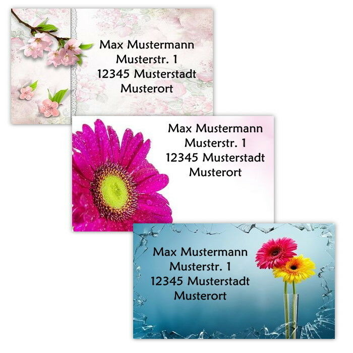 "40 Adressetiketten Adressaufkleber, oder 10 Visitenkarten - Motiv ""Blumen"""