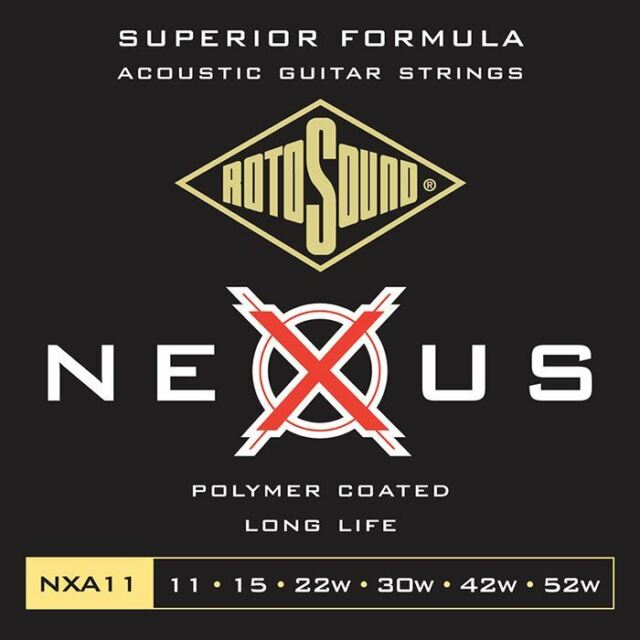 Rotosound NXA11 Nexus Clear Polymer Coated Acoustic Guitar Strings Gauge 11-52