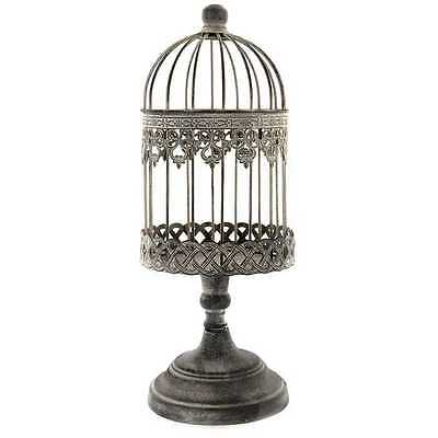 Antique Sliver LOOK Iron Bird Cage on Stand. Unique Home Decor. FREE SHIPPING