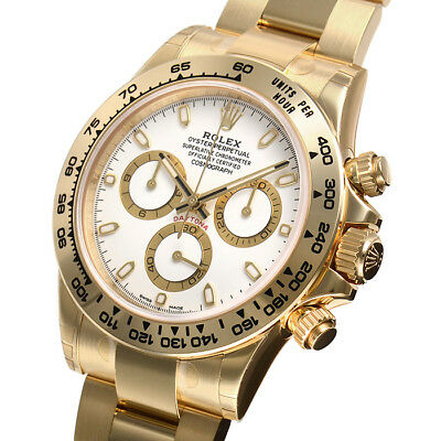 Rolex Daytona 116508 Yellow Gold Oyster Bracelet White Index Dial 40mm Watch