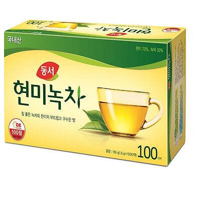 Korean Dong Suh Brown Rice Green Tea 100 Tea Bags Healthy Diet FREE Shipping