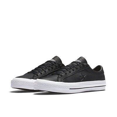 NEW Men's Size 10 Converse One Star OX Black Leather Low Top Shoes CONS Skate