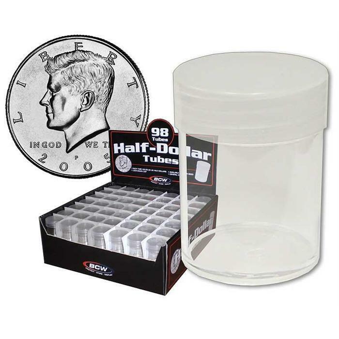 98 NEW BCW HALF DOLLAR CLEAR PLASTIC COIN STORAGE TUBES W/ SCREW ON CAPS