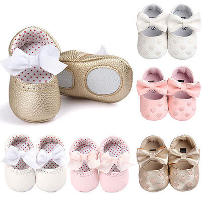 Newborn Baby Girl Soft Sole Leather Crib Shoes Anti-slip Sneaker Prewalker 0-18M