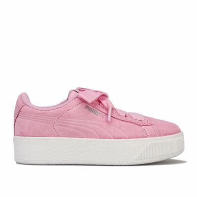 Girl's Puma Children Vikky Platform Ribbon Trainers in Pink