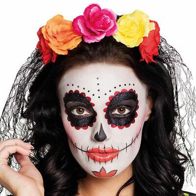Haarreif Tag der Toten bunte Rosen Schleier, Mexiko Halloween Tiara Kostüm