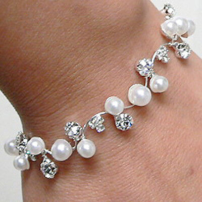 """Clear Crystal & Faux White Pearl Bridal Bracelet """"Wedding Sprig""""  Gift Boxed"""
