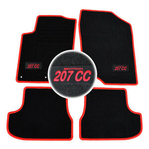 4 tapis sol moquette logo rouge specifique peugeot 207cc for Moquette inondee 207