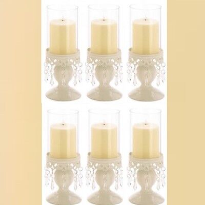 Lot 6 Ivory Hurricane Lantern Candle Holder Candelabra Wedding Centerpieces ](Ivory Lanterns)