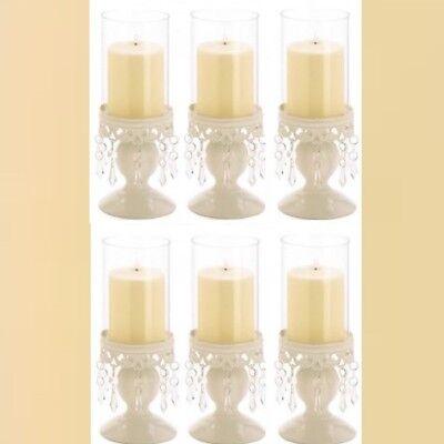 Lot 6 Ivory Hurricane Lantern Candle Holder Candelabra Wedding Centerpieces (Hurricane Wedding Centerpieces)