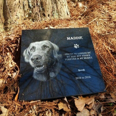 12x12 Tombstone Laser Engraved, grave marker, human or pet, dog, memorial plaque