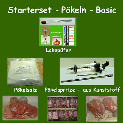 Pökeln - Starterset Basic - Pökelspritze, Lakeprüfer, Pökelsalz - Kochschinken