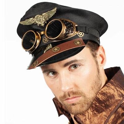 NEU Hut Steampunk Pilotenmütze mit Schweißerbrille