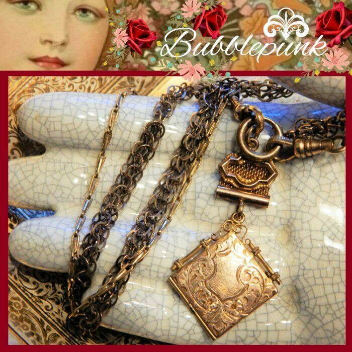 Antique Victorian Locket Fob Pendant Watch Chain Assemblage Necklace
