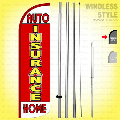 Auto Insurance Home - Windless Swooper Flag Kit 15 Feather Banner Sign Rq17-h