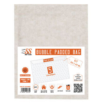 Smart n Secure   SnS White Bubble Padded Bags K/7 350mm x 470mm, Pack of 5