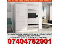 BRAND NEW 2 Door Sliding mirror wardrob with High Gloss Black/White Finish