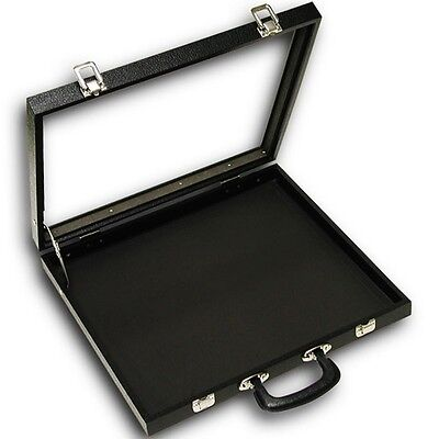 X-Large Black Glass Top with Handle Portable Sales Display Storage Case with Pad