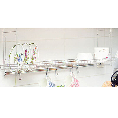 New Stainless Ceiling Under Fixing Dish Drying Rack Shelf Sink Kitchen Storage