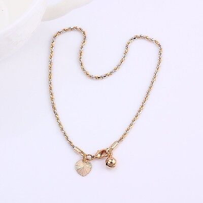 """9CT 9K YELLOW & White """"GOLD FILLED"""" ANKLE CHAIN ANKLET BELL & HEART CHARMS 10.6"""""""